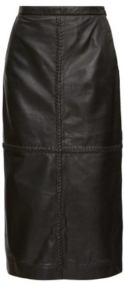 Altuzarra Mooney Panelled Leather Midi Skirt - Womens - Black