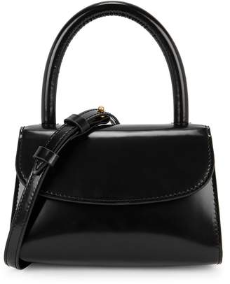 BY FAR Mini Black Leather Top Handle Bag
