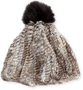 Adrienne Landau Rabbit & Fox Fur Pompom Hat, Gray Goma
