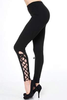 People Outfitter Black Lace-Up Leggings