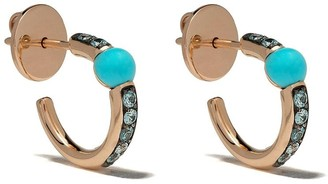 Pomellato 18kt rose gold Mama non Mama turquoise and zircon hoops
