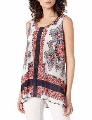 One World ONEWORLD Women's Sleeveless Printed Woven Tank Top