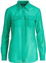 Ralph Lauren Petite Cotton-Silk-Voile Shirt