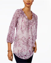Style&Co. Style & Co Floral-Print Ruffle-Collar Top, Only at Macy's