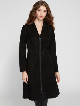 Alice + Olivia Logan Suede Mock Neck Midi Coat
