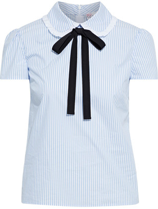 RED Valentino Pussy-bow Ruffle-trimmed Striped Cotton-blend Poplin Top