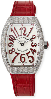 Franck Muller Lady Vanguard Watch with Diamonds & Alligator Strap, Red