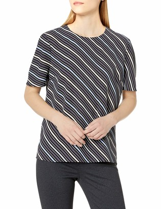 Anne Klein Women's Short Sleeve Blouse with Keyhole Back