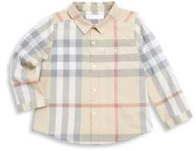 Burberry Baby Boy's Plaid Cotton Casual Button Down Shirt - Trench - Size 18 Months