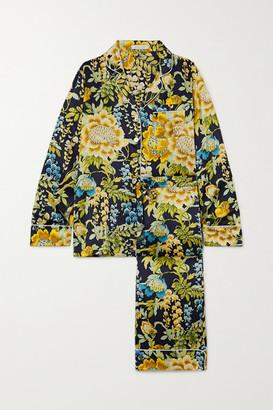 Olivia von Halle Lila Floral-print Silk-satin Pajama Set - Navy