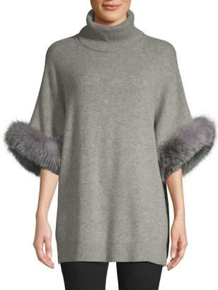 Sofia Cashmere Fox Fur Cuff Cashmere Turtleneck Poncho