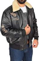 House of Leather Mens Real Leather Bomber Aviator Top Gun Air Force Style Jacket Pilot-N