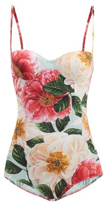 Dolce & Gabbana Camellia-print Underwired Balconette Swimsuit - Pink Print