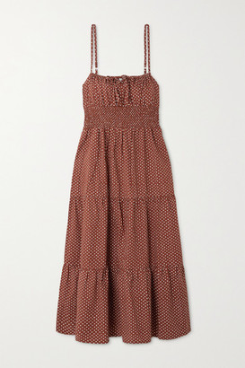 Faithfull The Brand + Net Sustain Canyon Tiered Shirred Polka-dot Cotton-poplin Midi Dress - Brown