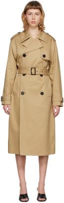 Saint Laurent Beige Gabardine Trench Coat