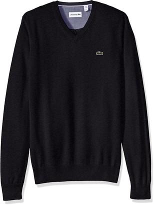 Lacoste Men's Cotton-Jersey-V-Neck-Sweater