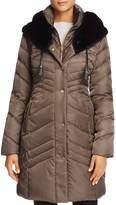 Via Spiga Faux Fur Trim Pillow Collar Puffer Coat