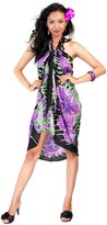 1 World Sarongs Womens Fringeless Floral Sarong Sweet Mulberries Purple and White