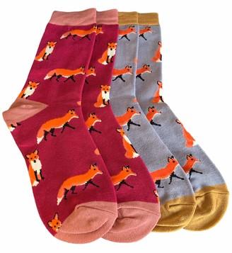 Purple Possum Socks Ladies 2 Pair Multi Pack Orange Fox Pattern Bamboo Cotton Blend Soft Sock UK Shoe Size 4-7 Gift Idea (Burgundy/Grey)