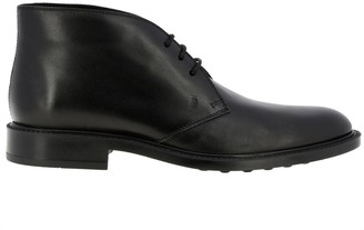 Tod's Tods Chukka Boots Tods Lace-up Boots In Smooth Leather With Rubber Sole