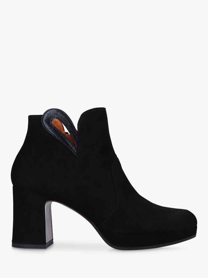 Chie Mihara Herita Seude Block Heel Ankle Boots, Black