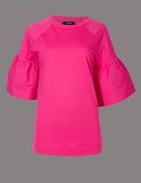 Autograph Pure Cotton Flute Sleeve Round Neck T-Shirt