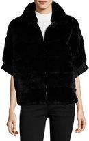 Gorski Half-Sleeve Rabbit Fur Jacket, Black