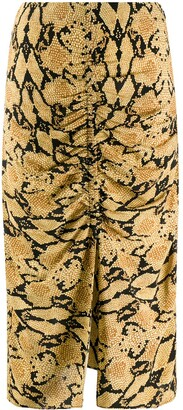 BA&SH Carry snakeskin-print pencil skirt