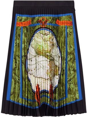 Burberry Map Print Pleated Skirt