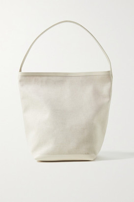 The Row N/s Park Leather-trimmed Canvas Tote - Ivory