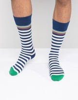 Paul Smith Socks In Classic Multistripe In Blue And White