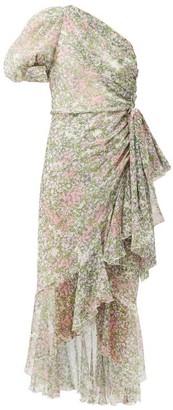 Giambattista Valli One-shoulder Floral-print Silk Midi Dress - Green Multi