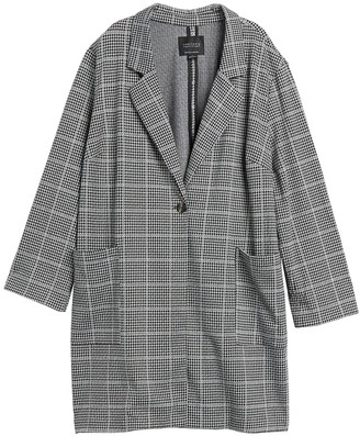 Sanctuary Houndstooth Plaid City Coat Blazer (Plus Size)