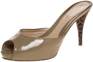 Fendi Beige Patent Leather And Zucca Heel Peep Toe Slides Size 38.5