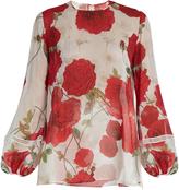 Giambattista Valli Balloon-sleeved rose-print silk-georgette blouse