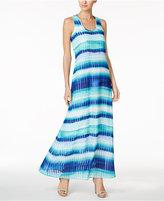 Calvin Klein Striped Chiffon U-Neck Maxi Dress