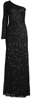 Mac Duggal Novelty Sequin Long-Sleeve Sheath Gown