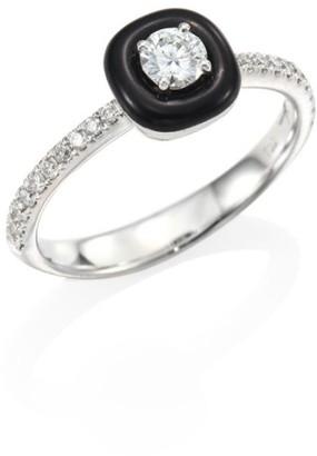 Oui Diamond, Enamel & 18K White Gold Ring
