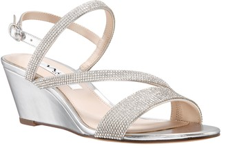 Nina Adjustable Rhinestone Wedge Sandals - Naloni