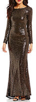 Calvin Klein Round Neck Cowl Back Long Sleeve Sequin Gown