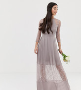 TFNC Petite Petite bridesmaid exclusive pleated maxi dress with lace insert in gray