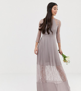TFNC Petite bridesmaid exclusive pleated maxi dress with lace insert in gray
