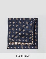 Reclaimed Vintage Paisley Pocket Square In Navy