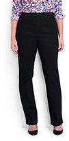 Lands' End Women's Plus Size High Rise Straight Leg Jeans-Black