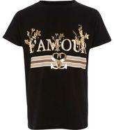 River Island Girls Black 'l'amour' foil print T-shirt