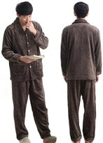 JINXIN Men's Winter Fanne Pajamas Thickong-Seeved Home Cothes Suits