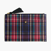 J.Crew Large pouch in Stewart plaid Italian leather