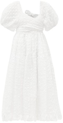 Cecilie Bahnsen Maya Puffed-sleeve Seersucker Dress - White