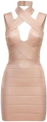 Herve Leger Stretch Lurex Bandage Mini Dress