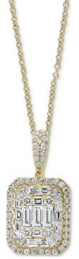 "Effy Diamond Baguette Cluster 18"" Pendant Necklace (1-3/4 ct. t.w.) in 14k Gold"